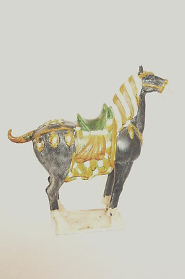 Tang Dynasty Style War Horse Chinese Ceramic Glazed Hollywood Regency Ancient