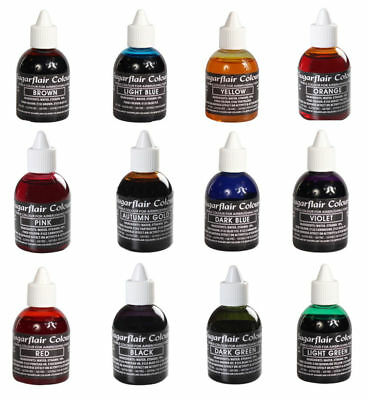 Sugarflair Airbrush Colours - Edible Liquid Food Colour Airbushing Sugarcraft