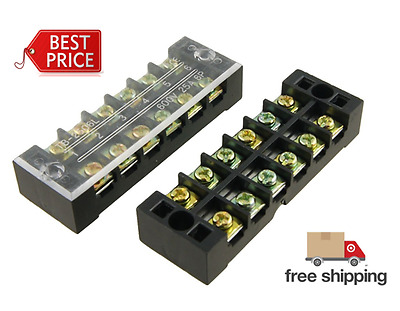 5 Pcs 6 Position Screw Terminal Covered Barrier Strip 600V 25 Amp Uxcell