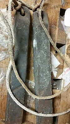 Antique window sash weight set of 2 with ropes