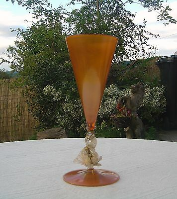 """Antique Salviati Glass Goblet With Dolphin Stem - Large 11"""" High"""