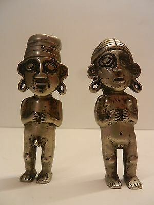 Pre-Columbian Inca Pair of Idols.Cast in Silver? Metal Alloy? Heavy Tumbaga