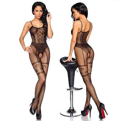 "Sexy Bodystocking ouvert in Straps-Optik Catsuit Dessous Nylon schwarz ""13929"""