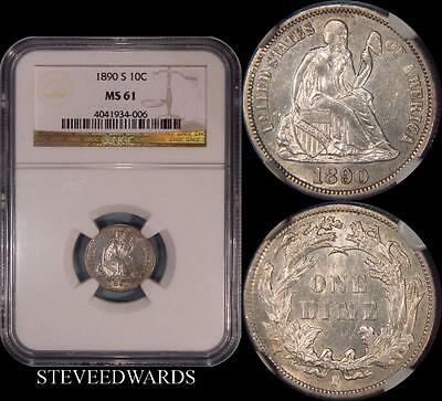 1890-S Liberty Seated Dime ** NGC MS61 **   Frosty Well Struck Coin