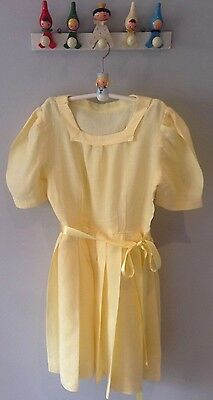 1950's Original Authentic Vintage Powder Lemon Girls Occasion Dress Age 7-8