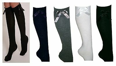 6x GIRLS FASHION COTTON KNEE HIGH CHILDREN KIDS SCHOOL SOCKS WITH BOW ALL SIZE