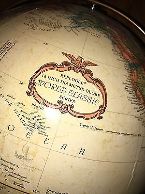 "Vintage REPLOGLE 16"" DIAMETER WORLD CLASSIC SERIES GLOBE ON FLOOR STAND"