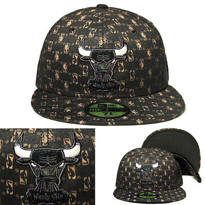 New Era Chicago Bulls 5950 Black Grey Fitted Hat Official NBA Logo All-Over Cap