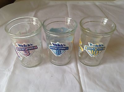 LOONEY TUNES Welch's Jelly glasses lot of 3 excellent condition 1994 # 3 ,8, 10