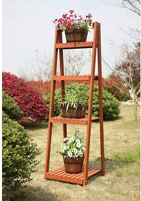 4 Tier Wood Plant Stand Shelf  Flower Pot Planter Holder Outdoor Patio Decor New