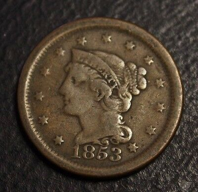 1853 US large Cent  Braided Hair a nice coin