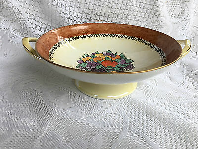 RS Prussia Royal Silesia Lustre Footed Two Handled Bowl Decorated with fruit 698