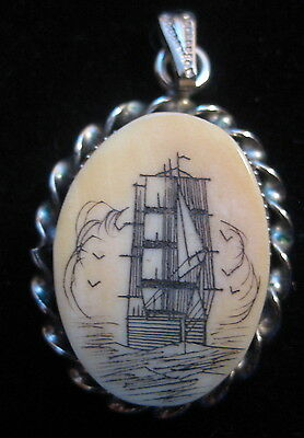 Vintage Antique Ship Scrimshaw Pendant New Bedford Silver Tone Setting and Ring
