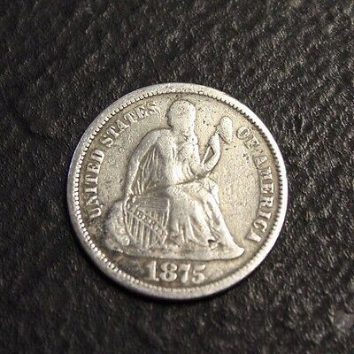 1875 Seated Liberty Dime waved