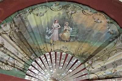 Antique Fan Mother of Pearl Hand-Painted Victorian Vintage Ornate Bubble Frame