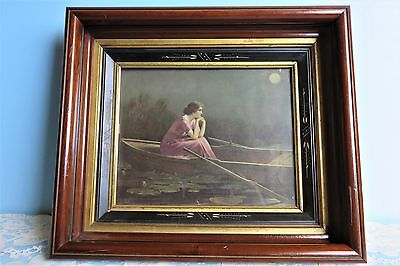 Antique Eastlake Diorama Picture Frame Hand-Painted Victorian Walnut Wood