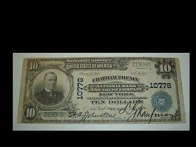 Rare 1902 First National Bank New York $10 Dollars Currency For Collection