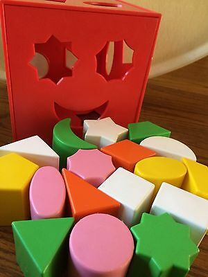Vintage 1981 Playskool FORM FITTER Red Shape Sorter Activity Cube with 17 blocks