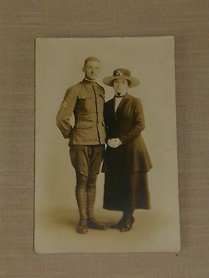 Antique Rppc Ww1 American Soldier In Uniform With Woman Real Photo Postcard