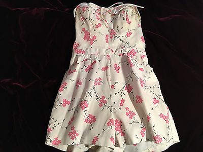 1950's Romper Bathing Suit Vintage Excellent Size Small White and Pink Floral