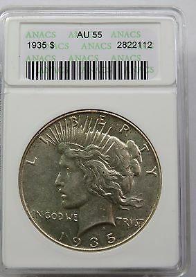 1935-P ANACS AU 55 Silver Liberty PEACE Dollar ALMOST UNC US Coin Item #11518AA
