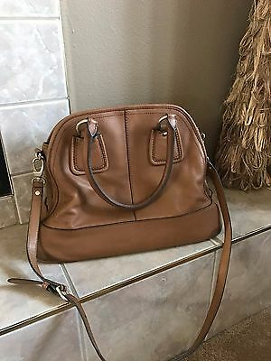 $225 Talbots EXTRA LARGE PEBBLED Brown Leather Handbag Shoulder Bag