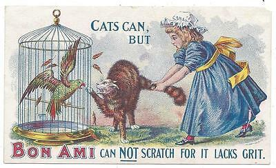 Bon Ami Cleaning Soap - Trade Card - Cat's Tail Scratch Parrot - Bon Ami Co. NYC