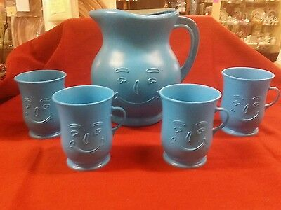 Rare Color BLUE Vintage Plastic Kool Aid Serving Pitcher w/ 4 Mugs Advertising