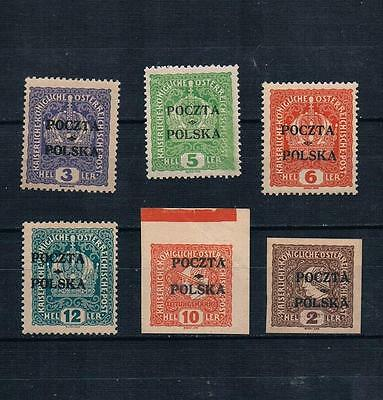 Poland 1919 Cracow OVP forgeries Sc#41-3,45 & Newspaper stamps P1,P4 MH,MNH Lot