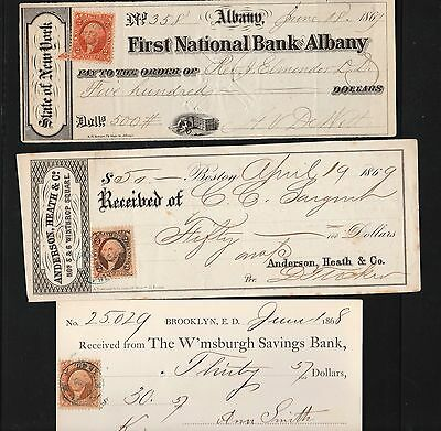 19 Century Check Collection 1868 1869 New York and Massachusetts