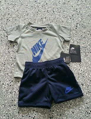 New Nike Dri Fit Kids Boys Graphic T-Shirt & Short Pants Outfit Set 12 Months