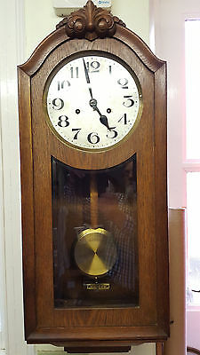 Vintage Wooden German Westminster Chiming Wall Clock with Bevelled Glass