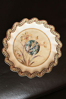 19 Cent. Doulton / Burslem Cabinet Plate With hand painted Kingfishers -