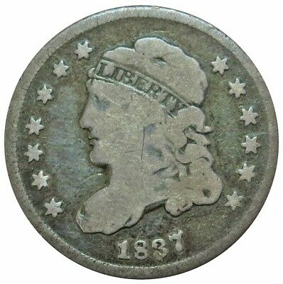 1837 Silver United States Capped Bust Half Dime Coin Very Good Condition Large 5