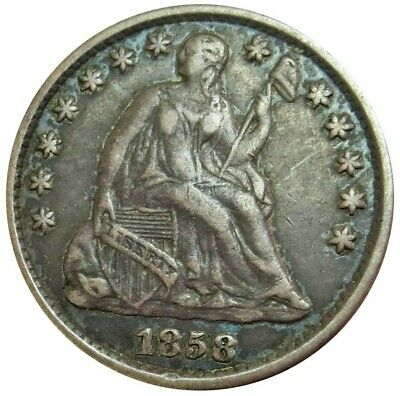 1858 O Silver United States Seated Liberty Half Dime Extremely Fine Condition