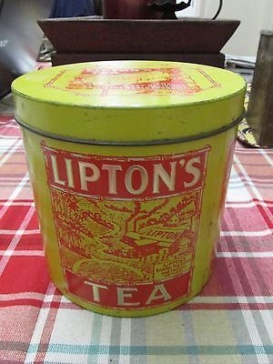 Very Rare Vintage Early Lipton Round Tea Tin - 4 Panels Framed in Bamboo 1/2 lb