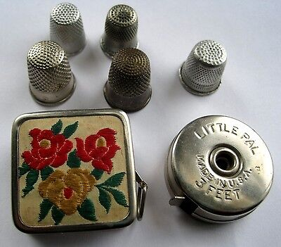 7 Pc. Vintage Sewing Lot German Embroidered Tape Measure 5 Thimbles LOOK !!
