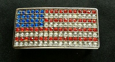 Red White And Blue Rhinestone American Flag Design Patriotic Belt Buckle