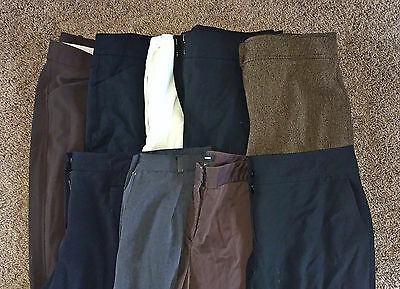 LOT B 9 Pairs Women's Designer Career Dress Pants Slacks Trousers 12 LARGE L EUC