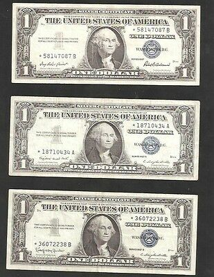 Star Set Of 1957, 1957A And 1957B $1 Silver Certificates
