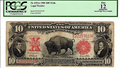 1901 $10 Bison Legal Tender Note ~ Fr121m (Mule) ~ PCGS Graded Fine 12 Apparent