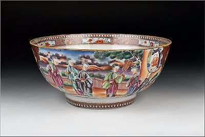 18th Century Chinese Famille Rose Porcelain Bowl w/ Character Scenes