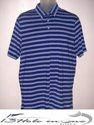 Ralph Lauren RLX Men's Golf Shirt Short Sleeve Size L  Blue/Striped Nice
