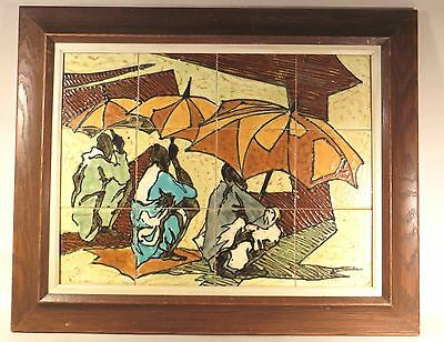 Harry Strong Mcm Abstract Listed Ceramist 12 Hp Tiles African Scene Framed