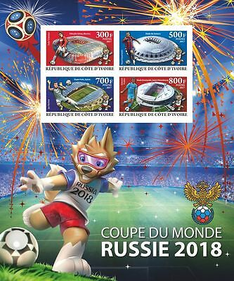 Football World Cup Russia 2018 m/s Ivory Coast 2017 MNH #CDI2017-05 IMPERF