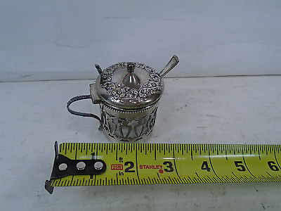 ANTIQUE OLD English Sterling Silver Mustard Pot w/Glass insert AND SPOON