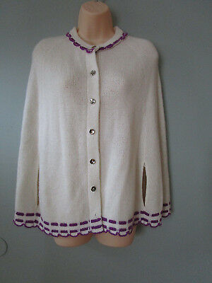 Vintage White With Purple Trim Poncho - Growing Girl - Size 7-14 - Sweater
