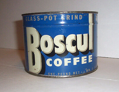 Old Boscul Unopened Coffee Tin / Rare Blue Color