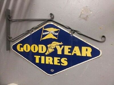Original 1941 Goodyear Porcelain Double Sided Sign with Metal Diamond Bracket