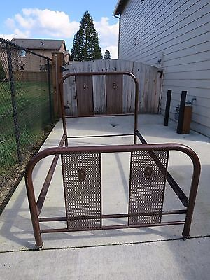 "Orig Vintage Antique 1920's Simmons Metal Steel Bed - Art Nouveau ""Screen"" Style"